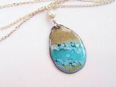 Ocean Enamel Pendant Copper Teardrop Disk  Enamel by Gasquetgirl