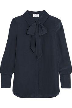 FRAME Le Scarf Silk Crepe De Chine Blouse. #frame #cloth #tops