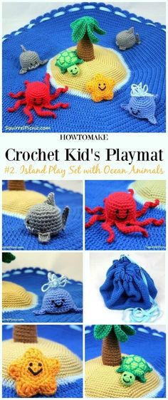Crochet Island Play Set with Ocean Animals Free Crochet Pattern - #Crochet Kids #Playmat Free Patterns Kids Gifts