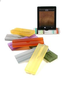 Groove Resin iPad Stand, Tablet Stand- Translucent, Colorful Modern Minimalism at Its Best on Etsy, $40.00