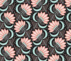 floral of coral, mint, black & white by catalinakim