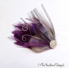 ADELAIDE  Plum Purple and Grey Peacock by TheHeadbandShoppe, $30.00