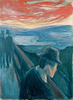 Despair by Edvard Munch via this isn't happiness™ Kinda looks like The Scream, huh? Edvard Munch, Wassily Kandinsky, Albert Bierstadt, Vincent Van Gogh, Oeuvre D'art, Painting Techniques, Les Oeuvres, Art History, Oil On Canvas