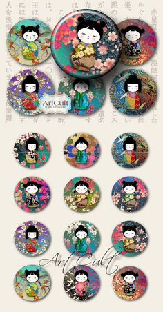 CHIYOGAMI WASHI DOLLS - 2.5 inch Circles Digital Collage Sheet Kokeshi images for Pocket Mirrors magnets scraping journaling