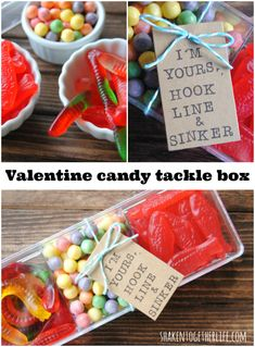Super cute Valentine candy tackle box - great for guys!