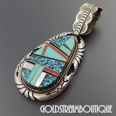 Native American WILSON PADILLA NAVAJO STERLING SILVER TURQUOISE CORAL JET MOP INLAY PENDANT