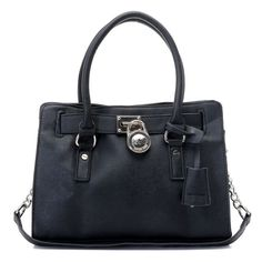 "Michael Kors Hamilton Satchel Black Silver * Black leather. * Silver color hardware. * Top handles with rings; 4 3/4"" drop. * Chain shoulder strap. * Frame top with logo-engraved lock; magnetic snap closure. * Hanging luggage tag. * Inside, one zip pocket and two open pockets. * 9 1/2""H x 12 3/4""W x 4 1/2""D."