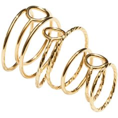 H&M 8-pack rings (7.50 CAD) ❤ liked on Polyvore featuring jewelry, rings, accessories, anillos, bague, gold, h&m rings, thin rings and h&m jewelry