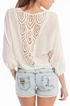 Shorts + blusa transparente de Lois Jeans Lois Jeans, Girl Fashion, Blouse, Long Sleeve, Sleeves, Shorts, Future, Girls, Women