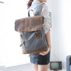 "12.2""x16.9"" Grey School backpack/ Canvas-Leather Backpack/ Canvas backpack/Handmade bag on Etsy, $59.99"