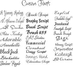 tattoo fonts for names cursive