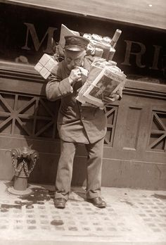 Busy Postman - 1900  .I HOPE YOU'LL FOLLOW ANY OF MY 5 GREAT BOARDS CONCERNING THE POST OFFICE MAILMEN VEHICLES MAILBOXES AND OTHER THINGS
