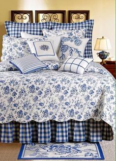 French Country Bedroom Sets - Ideas on Foter Waverly Bedding, Toile Bedding, Bedding Sets, Bedroom Comforters, Diy Pillow Covers, Diy Pillows, Blue Pillows, Duvet Covers, Bedroom Sets