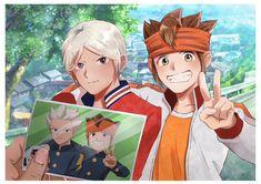 Gōenji Shūya & Endō Mamoru Inazuma Eleven Go, Anime Characters, Fictional Characters, Evans, Thing 1, Kawaii, Fan Art, Cartoon, Drawings