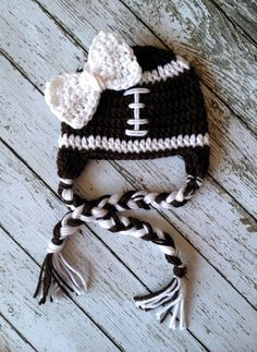 Little Miss Football Beanie in Brown and by mamamegsyarnshoppe, $22.00