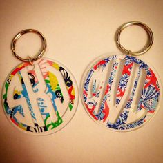 Lilly Pulitzer Inspired Monogram Keychain by MagicalMonograms, $9.50