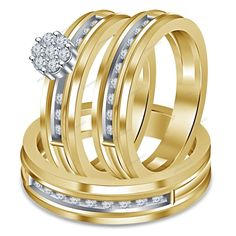 2.30 CT. 14k Yellow Gold Plated Round D(VVS1 ) Diamond Channel Set Trio Ring Set #giftjewelry22