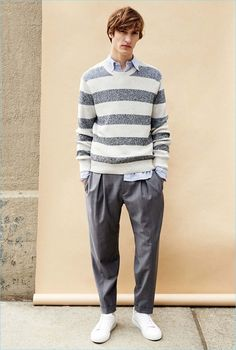 Front and center, Tim Dibble wears a Club Monaco marled stripe sweater $159.50, blue Gitman seersucker shirt $170, pinstripe pleated dress trousers $139, and Wings + Horns Court low-top sneakers $395.