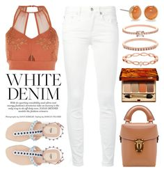 """""""Bright White: Summer Denim 3623"""" by boxthoughts ❤ liked on Polyvore featuring R13, River Island, Kate Spade, Accessorize, Clarins and whitejeans"""
