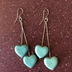 Earrings Turquoise hearts earrings. Never worn.   Bundle to save 20% Jewelry Earrings