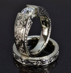 hand engraved white gold engagement ring
