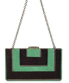 ~Vintage Art Deco Enamel  Green & Black Purse~Circa 1920s~