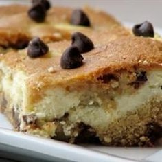 "Chocolate Chip Cheesecake Brownies | ""Wow - the pictures on this one sold me before I even started mixing. I followed the recipe exactly and the bars turned out wonderfully!"""