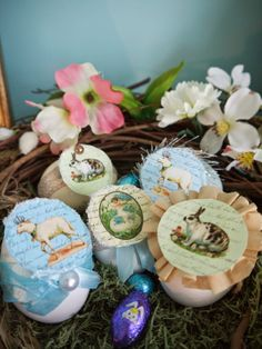 "Surprise your guests with ""real"" treat filled eggs. This year I skipped the plastic snap-together versions and filled the genuine ""from the chicken"" variety in… Seed Tape, Diy Wreath, Grapevine Wreath, Globe Decor, Diy Playbook, Easter Peeps, Eggs, Omelettes, Plastic"