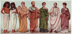 Na Antiguidade clássica o uso de roupas costuradas era considerado barbaridade e durante um certo período chegou inclusive a acarretar em pena de morte. A opção era o quíton: um tecido enrolado ao corpo que era preso nos ombros por uma espécie de alfinete chamada fíbula.