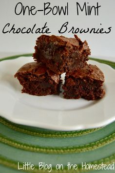 One Bowl Mint Chocolate Brownies
