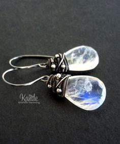 Moonstone Silver Earrings Gemstone Jewelry White Stone by Kande