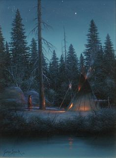 Gene Speck oil on board Coming of Night kp Native American Indians, Painting Inspiration, Fine Art, Mountains, Night, Artist, March, Oil, Board
