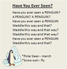 """""""Have You Ever Seen?"""" Polar animal movement song, great for the Winter season. To the tune """"Did You Ever See a Lassie? Kindergarten Music, Preschool Music, Preschool Themes, Preschool Prep, Winter Songs For Kids, Winter Songs For Preschool, Movement Songs For Preschool, Preschool Schedule, Preschool Activities"""
