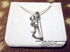 "Sterling Silver Hunters Cross Necklace on a 20"" chain -Compound Bow  $99.99 TrophyChickApparel.com Or HuntersCross.com"