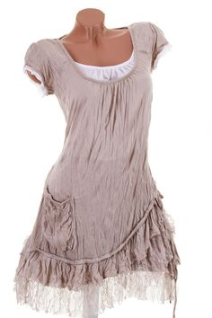 Short sleeve tunic of crash Portafortuna in layered look with beige lace