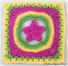 Granny's Shining Star - a fun and easy square motif by Beatrice Ryan Designs! Make it with Vanna's Choice!