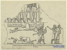 Image Title: Assyrians flaying their prisoners alive, and carrying away heads of the slain (Kouyunjik). Published Date: 1859 Specific Material Type: Prints Item Physical Description: 1 print : b&w ; 11 x 15 cm. (4 1/4 x 5 3/4 in.) Original Source: From Discoveries among the ruins of Nineveh and Babylon : with travels in Armenia Kurdistan, and the desert . . . (New York : Harper, 1859) Layard, Austen Henry, Sir (1817-1894), Author.