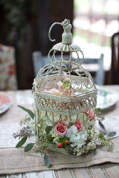 floral bird cage makes a nice simple center piece.