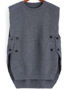 Серый вязаный свитер без рукавов с пугавицами