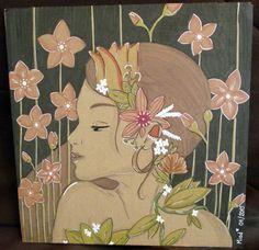 Lady - Illustration sur carton - 30x30 cm Tous droits réservés - Miod illustration