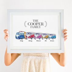 This Personalised VW Campervan Family Print would make a wonderful gift for a completed family, as a thank you gift or congratulations gift. Baby Prints, Nursery Prints, Family Drawing, Congratulations Gift, Craft Stalls, Family Print, Floral Nursery, Nursery Themes, New Baby Gifts