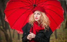Blondynka, Modelka, Czapka, Parasol, Las, Jesień