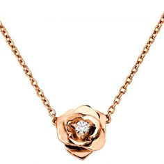 18K Rose Gold Diamond Piaget Rose Necklace Timeless and chic ! http://www.maier.fr/colliers-prestige/colliers-piaget/Rose,G33U0081
