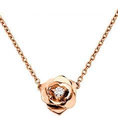 18K Rose Gold Diamond Piaget Rose Necklace