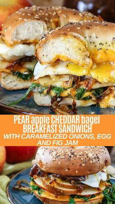 Pear Apple Cheddar Caramelized Onion Grilled Cheese Bagel Sandwich - The Roasted Root Cheese Bagels, Cheddar Cheese, Bagel Breakfast Sandwich, Breakfast Dishes, Breakfast Options, Vegan Breakfast, Halloumi, Vegetarian Recipes, Eating Clean