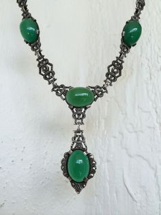 Art Deco Sterling Silver Chrysoprase Necklace by FrederMeetsMaria, $350.00