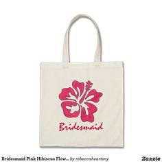 Bridesmaid Pink Hibiscus Flower Floral Tote