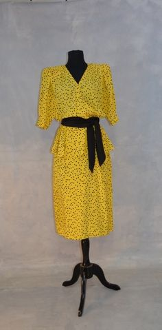 a8b760df93 1980s Designer Louis Feraud Silk Dress. Yellow and Black Polka Dots. Bow.  Wrap with Peplum. Sash. V Neck. Size 10