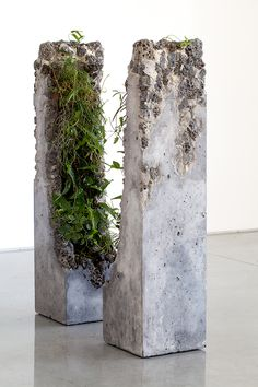 Portal II  2014   cement, marble waste, limestone, steel slag, coal ash, plastic fibre, tree fern slab, various Australian native plants and Spanish moss   2 components: 107.0 x 26.0 x 26.0 cm each
