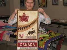 Lori Suss was the winner of the 2016 Guild challenge and had the privilege to choose the fabric for this years challenge. Fabric is pictur. Quilting Tutorials, Quilting Patterns, Canadian Quilts, Quilts Canada, Canada Maple Leaf, Canada 150, Quilt Of Valor, Leaf Crafts, Maple Leaves